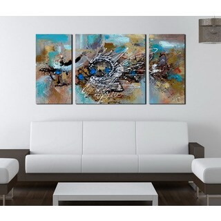 Hand-painted 'Abstract 491' 3-piece Gallery-wrapped Canvas Art Set|https://ak1.ostkcdn.com/images/products/9134695/P16316953.jpg?_ostk_perf_=percv&impolicy=medium