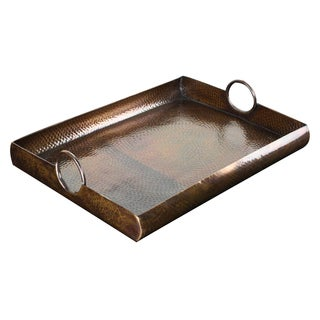 Highpoint Collection Large Hammered Antique Dark Copper Tray