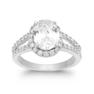 La Preciosa Sterling Silver Oval Cubic Zirconia Engagement Ring