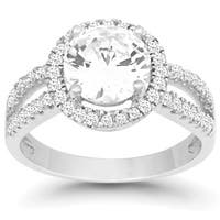 La Preciosa Sterling Silver Circle Cubic Zirconia Engagement Ring