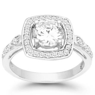 La Preciosa Sterling Silver Oval-cut Cubic Zirconia Engagement Ring