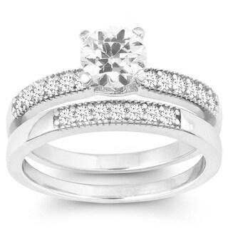 La Preciosa Sterling Silver Double-band Cubic Zirconia Bridal Set
