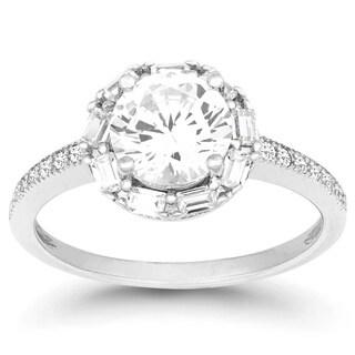 La Preciosa Sterling Silver Round Cubic Zirconia Engagement Ring