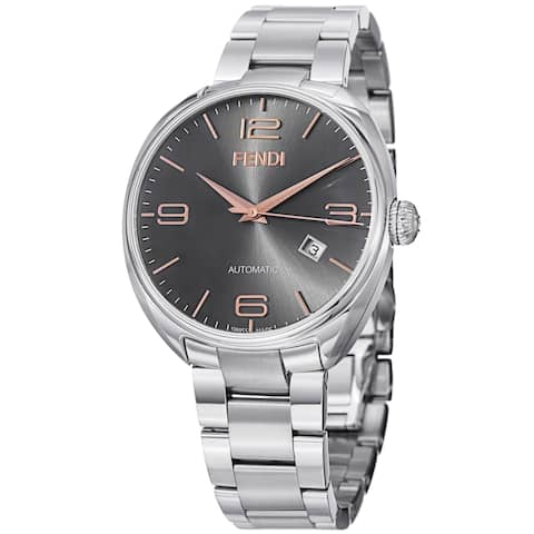 Fendi Men's F201016200 'Fendimatic' Black Dial Stainless Steel Automatic Watch