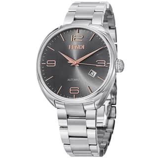 Fendi Men's F201016200 'Fendimatic' Black Dial Stainless Steel Automatic Watch https://ak1.ostkcdn.com/images/products/9134727/Fendi-Mens-F201016200-Fendimatic-Black-Dial-Stainless-Steel-Automatic-Watch-P16317032.jpg?impolicy=medium