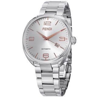 Fendi Men's F201016000 'Fendimatic' Silver Dial Stainless Steel Automatic Watch https://ak1.ostkcdn.com/images/products/9134737/Fendi-Mens-F201016000-Fendimatic-Silver-Dial-Stainless-Steel-Automatic-Watch-P16317033.jpg?impolicy=medium