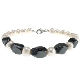 Hematite and Freshwater Pearl Bracelet for Women - White