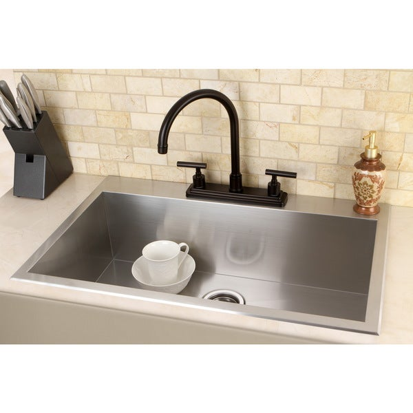 ... Stainless Steel 33 in. 2-Hole Single Bowl Kitchen Sink in Stainless