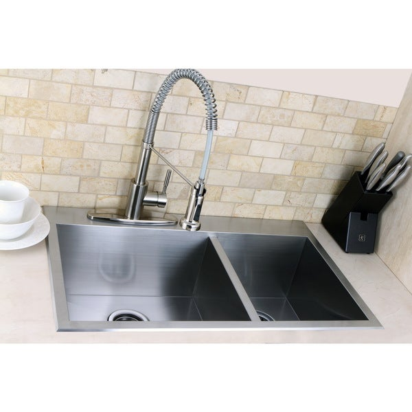 Shop Topmount 31.5-inch Double Bowl Stainless Steel Kitchen Sink ...