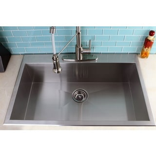 Kitchen Sink Top : Topmount 33-inch Single Bowl Stainless Steel Kitchen Sink