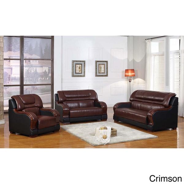 Shop Yellow Genuine Leather Sofa Set: Shop Novel Genuine Leather 3-piece Sofa Set