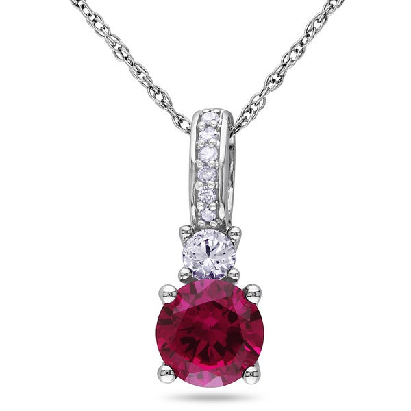 Miadora 10k White Gold Created Ruby, Created White Sapphire and Diamond Accent Necklace