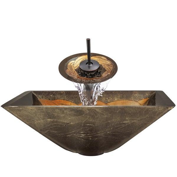 Shop polaris sinks p836 green foil undertone oil rubbed - Green glass vessel bathroom sinks ...
