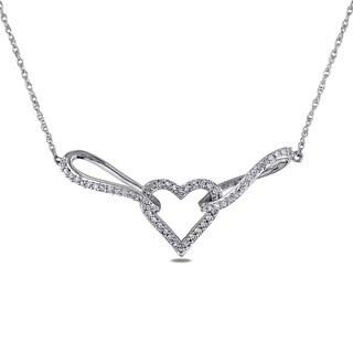 Miadora 10k White Gold 1/5ct TDW Diamond Heart Necklace