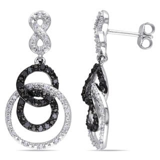 Miadora Silver 1/2ct TDW Black and White Diamond Infinity Earrings (H-I, I2-I3)