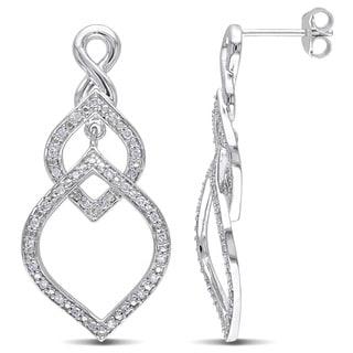 Miadora Sterling Silver 1/3ct TDW Diamond Dangle Earrings