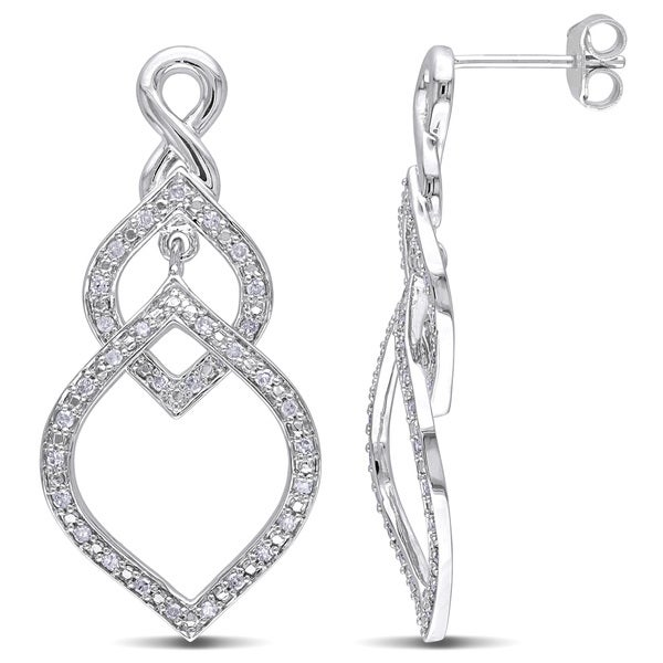 Miadora Sterling Silver 1/3ct TDW Diamond Dangle Earrings