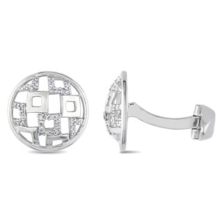 Miadora Sterling Silver 1/5ct TDW Diamond Cufflinks (H-I, I2-I3)