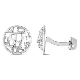 Miadora Sterling Silver 1/5ct TDW Diamond Cufflinks (H-I, I2-I3)