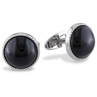 Miadora Sterling Silver 17ct TGW Black Onyx Cuff Links