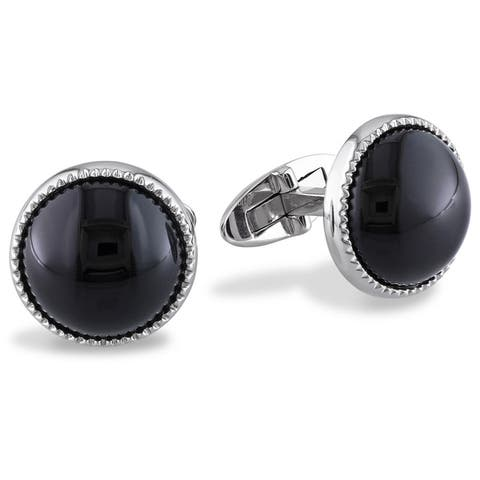 Miadora Sterling Silver 17ct TGW Black Onyx Cuff Links