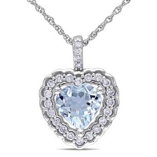 Miadora 10k White Gold Aquamarine and 1/6ct TDW Diamond Heart Necklace (G-H, I1-I2)