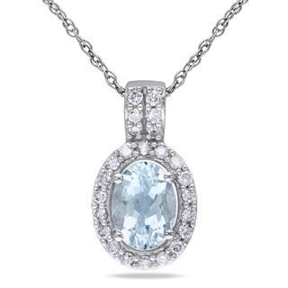Miadora 10k White Gold Aquamarine and 1/5ct TDW Diamond Necklace (G-H, I1-I2)