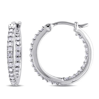 Miadora Sterling Silver 1/2ct TDW Diamond Inside Outside Hoop Earrings