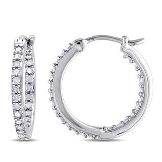 Miadora Sterling Silver 1/2ct TDW Diamond Inside Outside Hoop Earrings