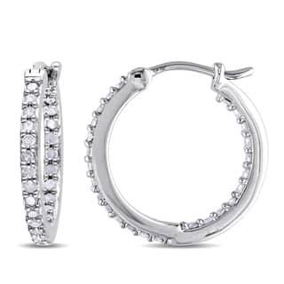 Miadora Sterling Silver 1 2ct Tdw Diamond Inside Outside Hoop Earrings