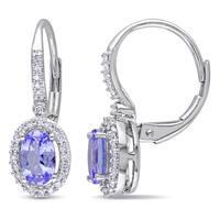Miadora 10k White Gold Tanzanite and 1/5ct TDW Diamond Earrings (G-H, I1-I2)