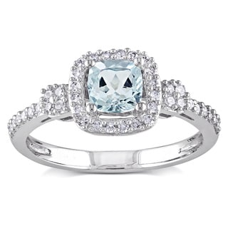 Miadora 10k White Gold Aquamarine and 1/5ct TDW Diamond Ring (G-H, I1-I2)