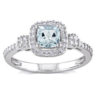 Miadora 10k White Gold Aquamarine and 1/5ct TDW Diamond Ring (G-H, I1-I2) (5 options available)