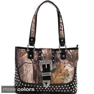 Realtree Camouflage Studded Tote Bag with Croco Trim and Buckle Accent