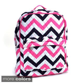 Rosen Blue Chevron Print Quilted Classic Backpack