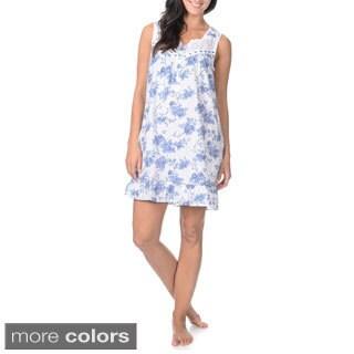 La Cera Women's Floral Print Flounce-hem Night Gown