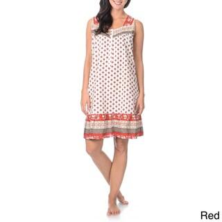 La Cera Women's Flower Print Nightgown Sweetheart Neckline Button Placket Flounce Hem