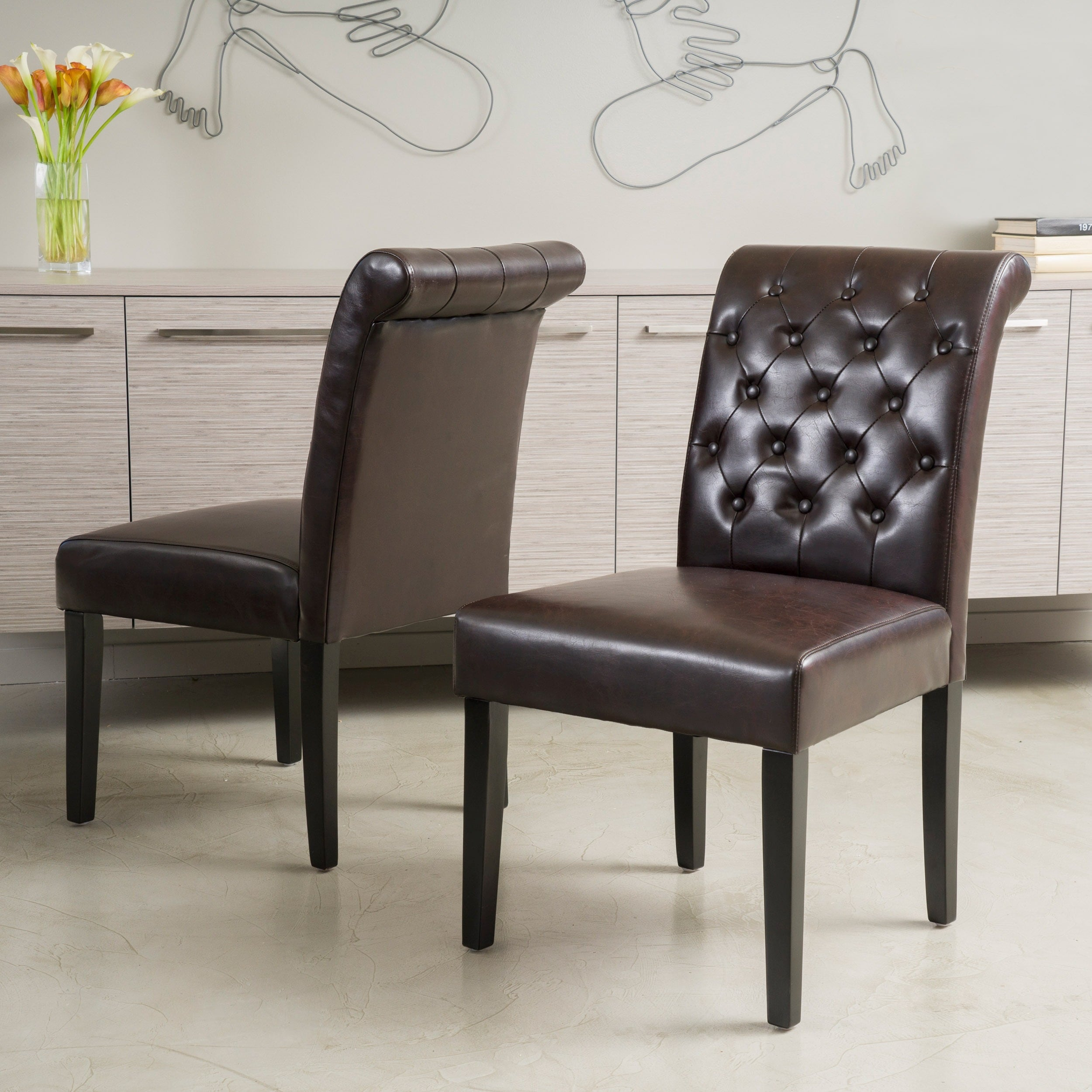 Palermo Brown Bonded Leather Tufted Dining Chair Set Of 2 By