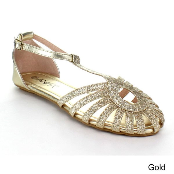53949f0282d4 Shop Anna Women s  Aria  Glitter Ankle Strap Sandals - Free Shipping ...