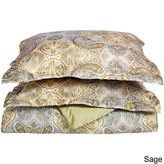 Superior Wrinkle Resistant Paisley Brushed Microfiber Duvet Cover Set