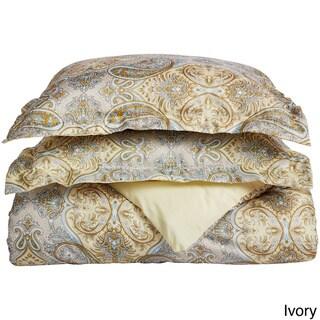Superior Wrinkle Resistant Paisley Brushed Microfiber Duvet Cover Set