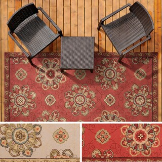 Hand-hooked Mila Contemporary Floral Indoor/ Outdoor Area Rug (5' x 8') - 5' x 8' (2 options available)
