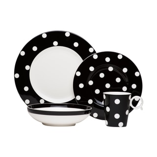 Red Vanilla Freshness Mix & Match Dots Black 4-piece Place Setting