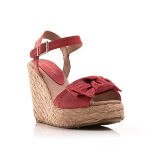 Nvy Women's 'Spunky' Leather Bow Espadrille Wedge