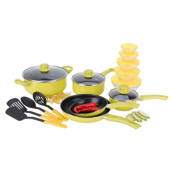 Alpine cuisine 22 piece aluminum non stick yellow cookware for Alpine cuisine ceramic cookware