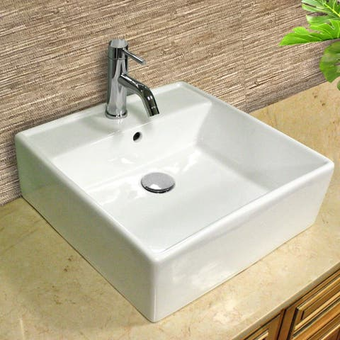 Highpoint Collection Vitreous China 18.5 inch Square Vessel Sink