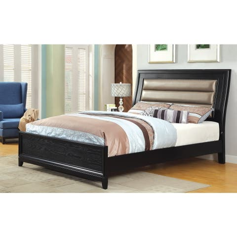 Furniture of America Neak Contemporary Black Solid Wood Padded Bed