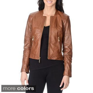Vince Camuto Women's 100-percent Genuine Leather Fashion Jacket ...