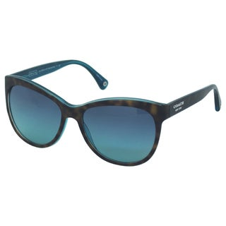 Coach Women's Samantha HC8055 5116/4S Dark Tortoise/ Teal Sunglasses