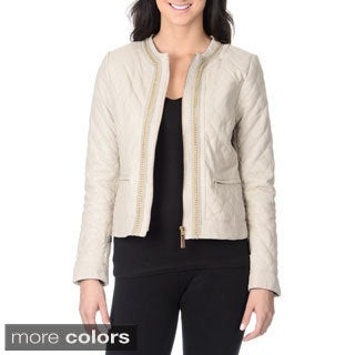Vince Camuto Women's Genuine Leather Quilted Chain Detail Jacket